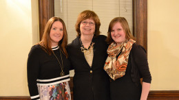 From left: Karen Meadows, Kathy Mangan, and Melissa Atkinson Mercer pose after the lecture. Photo by Marya Kuratova.