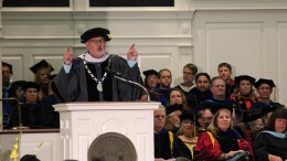 McDaniel College President Roger Casey addresses the first-year class during the Introduction Convocation inside Baker Memorial Chapel on Aug. 24, 2018. (Marya Topina / McDaniel Free Press).