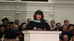 Acting Dean of Students Liz Towle speaks at the Introduction Convocation on Aug. 24, 2018. (Marya Topina / McDaniel Free Press).