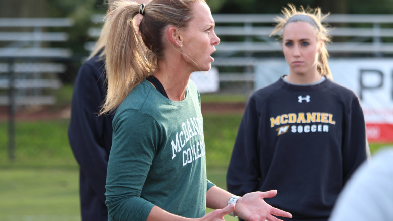 Three-time Olympic gold medalist and two-time FIFA Women's World Cup champion Christie Pearce joined the Green Terror women's soccer team for practice on Friday, Oct. 19, 2018. (Atticus Rice / McDaniel Free Press).
