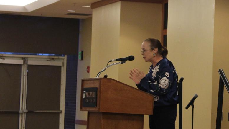 Alina Fernandez speaks to an audience at McDaniel College on Oct. 11, 2018. (Mario Fernandez / McDaniel Free Press).