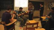 Benjamin Steinhurst, Ph.D., demonstrates a crocheting method in his Crocheted Hyperbolic Geometry Jan term course. (Emma Carter / McDaniel Free Press)