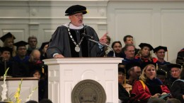 McDaniel College President Roger Casey addresses the first-year class during the Introduction Convocation inside Baker Memorial Chapel on Aug. 24, 2018. (Marya Kuratova / McDaniel Free Press).