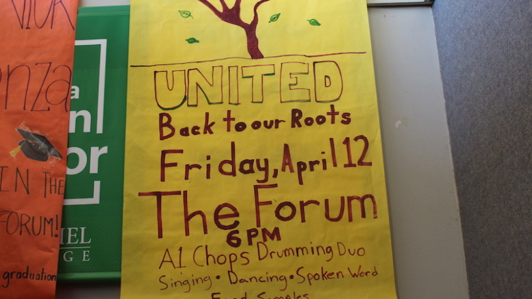 A poster in the Decker College Center advertising United. (Emma Carter / McDaniel Free Press)