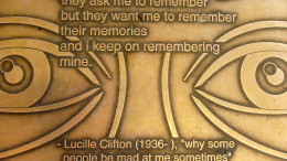 A plaque containing some of Lucille Clifton's work. (Photo courtesy of Wikimedia Commons).