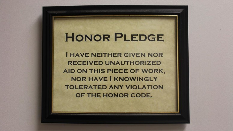 The College's Honor Code is found in all campus classrooms. (Emma Carter / McDaniel Free Press).