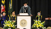 President Casey addresses the class of 2023 during the Introduction Convocation ceremony. (Marya Kuratova / McDaniel Free Press)