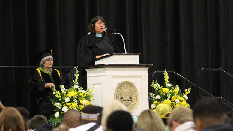 Dean Towle spoke to first-years during Introduction Convocation on August 23, 2019. (Marya Kuratova / McDaniel Free Press).