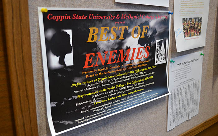 "A flyer in Hill Hall encourages McDaniel community members to attend the ""Best of Enemies"" production. (Marya Kuratova / McDaniel Free Press)."