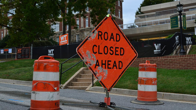 Construction on Decker College Center has closed the road leading up to Whiteford Hall and displaced multiple offices. (Marya Kuratova / McDaniel Free Press).