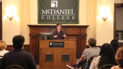 Amanda Bailey, Ph.D., presented the 34th annual Holloway Lecture on Tuesday, Sept. 10, in McDaniel Lounge. (Marya Kuratova / McDaniel Free Press).