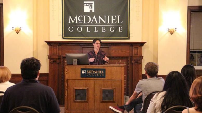 Amanda Bailey, Ph.D., presented the 34th annual Holloway Lecture on Tuesday, Sept. 10, in McDaniel Lounge. (Marya Kuratova / McDaniel Free Press).