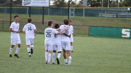 The men's soccer team celebrates a win against St. Vincent on Tuesday, Sept. 24. (Gunnar Ward / McDaniel Free Press).