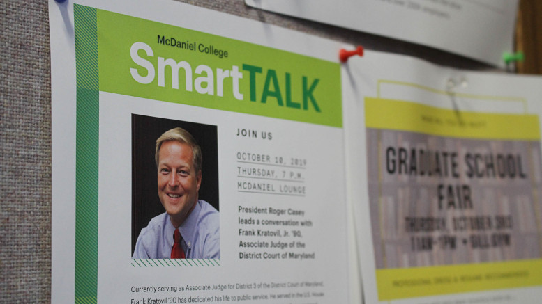 A flyer in Hill Hall encourages the campus community to attend the SmartTALK on Oct. 10 in McDaniel Lounge. (Marya Kuratova / McDaniel Free Press).