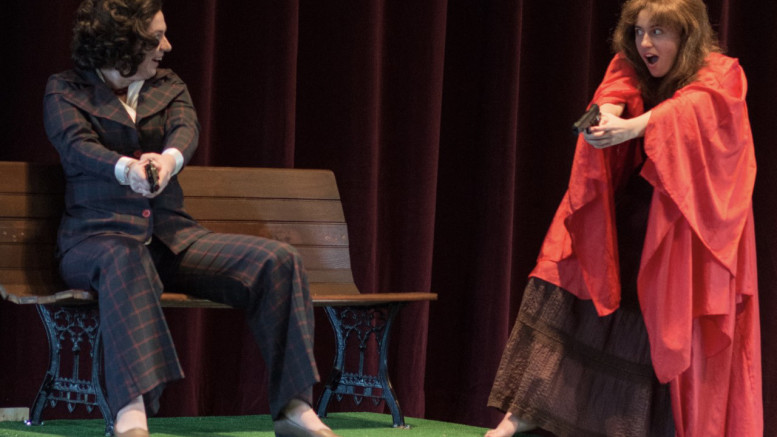 "Amanda Halcott as Sara Jane Moore and Patsy Zetkulic as Lynette ""Squeaky"" Fromme perform in ""Assassins."" (Photo courtesy of Elizabeth van den Berg)."