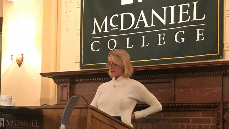 Jennifer Wuamett presented the Nov. 13 SmartTALK in the McDaniel Forum. (Eric Chung / McDaniel Free Press).