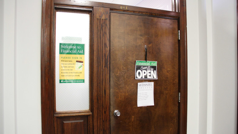 The Financial Aid office is located on the first floor of Elderdice Hall. (Marya Kuratova / McDaniel Free Press).