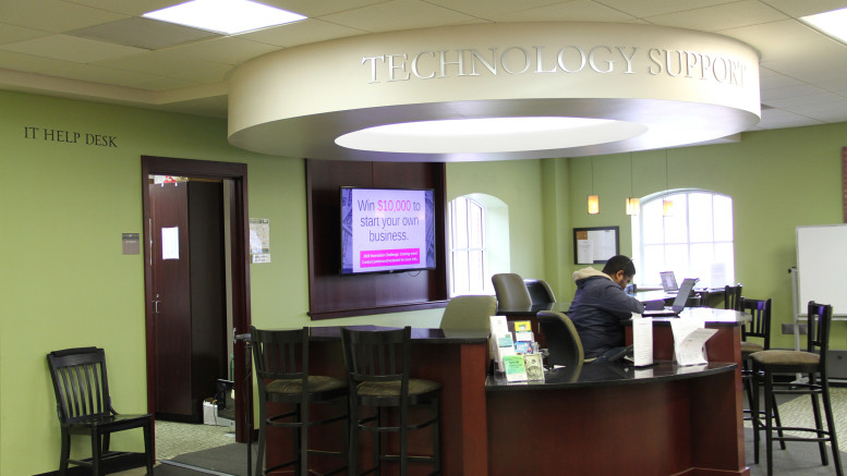 The I.T. help desk is located on the first floor of Hoover Library. (Marya Kuratova / McDaniel Free Press).