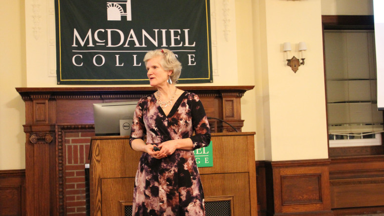 Andrea Shalal presented the 14th annual Global Issues Colloquium on Feb. 12 in McDaniel Lounge. (Ciara O'Brien / McDaniel Free Press).