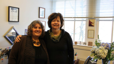Katy Stanton (left) and Kathy Mangan, Ph.D., have been friends for over 40 years. (Ciara O'Brien/ McDaniel Free Press).