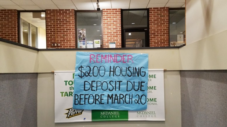 To participate in the housing lottery, students must pay a $200 deposit, which then goes towards the cost of the room. (Marya Kuratova /McDaniel Free Press).