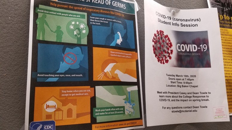 Flyers around campus advise ways to prevent the spread of germs. In addition to an email announcement, Tuesday's coronavirus info session was also advertised through flyers. (Marya Kuratova / McDaniel Free Press).