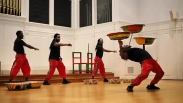 The ZuZu African Acrobats performed in Baker Memorial Chapel. (Photo courtesy of Nikola Tzenov).