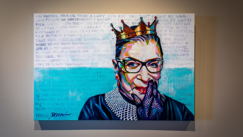 A portrait of Ruth Bader Ginsburg by artist Daniel Calderon, Latex on Canvas (Photo courtesy of Flickr/ user Todd)