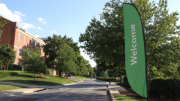 Welcome banners hung around campus as students arrive for move-in. (Ciara O'Brien/McDaniel Free Press)