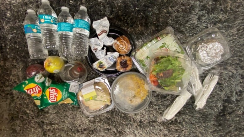 Allotted food for quarantined students is delivered all at once at 8:30 a.m. (Photo courtesy of Mary Daniel)
