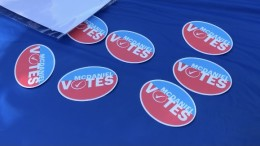 McDaniel Votes stickers can be obtained when you visit the table in Roj (Jill Courtney / McDaniel Free Press).