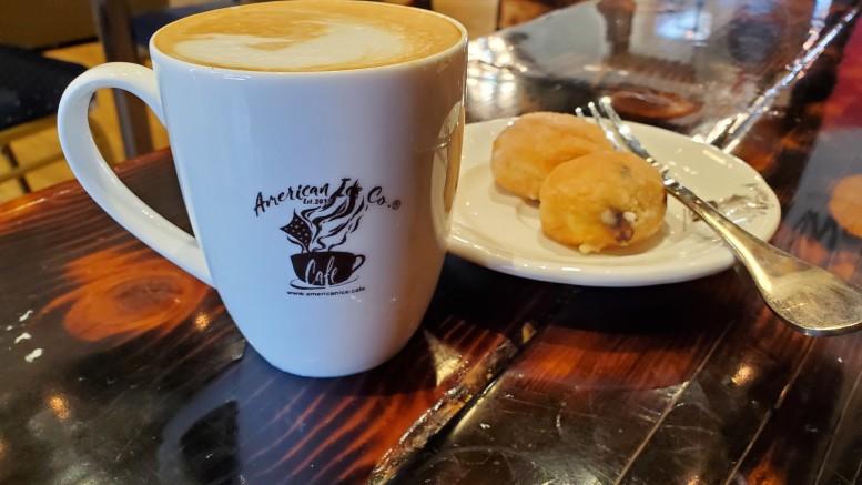 American Ice Co.'s honey maple latte and hazelnut beignets (Sophie Gilbart / McDaniel Free Press).