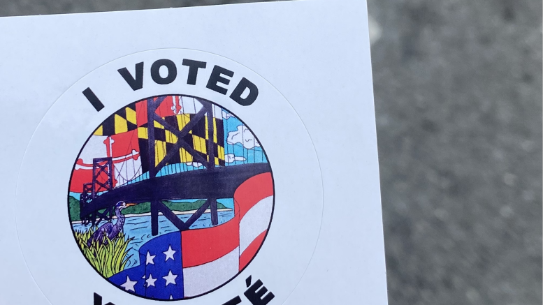 Voters received a local artist designed sticker after voting in the 2020 election (Rachel Allen / McDaniel Free Press)