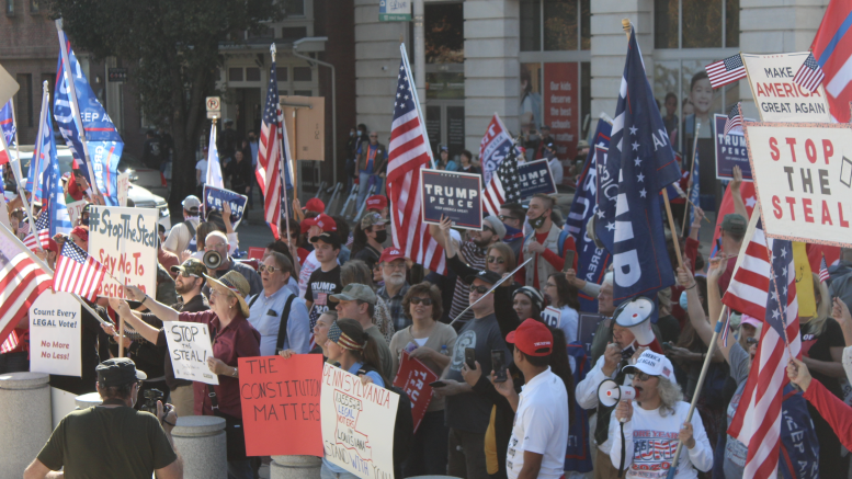 Trump's supporters respond to the announcement of Biden's win in Harrisburg, PA (Molly Sherman / McDaniel Free Press).